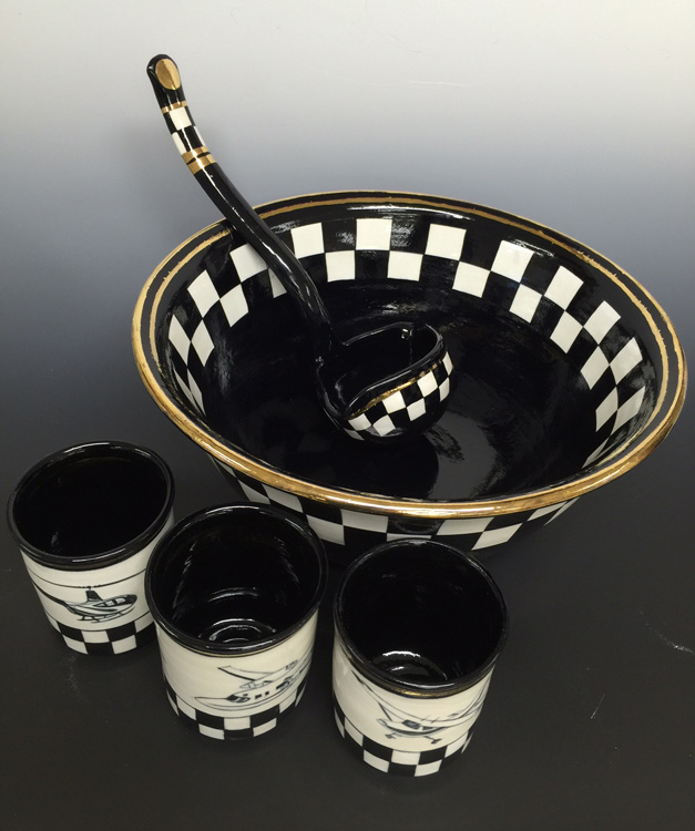 Baker Aircraft Punch Bowl Set