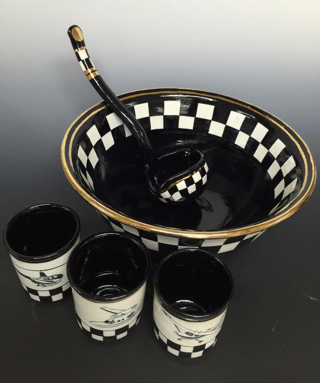 Baker Aircraft Punch Bowl Set