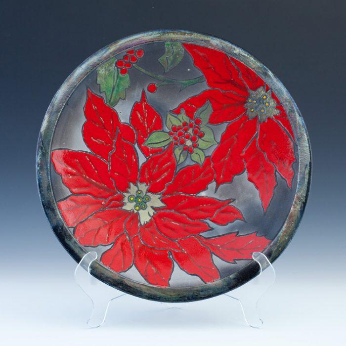 Raku Poinsettia Platter 2
