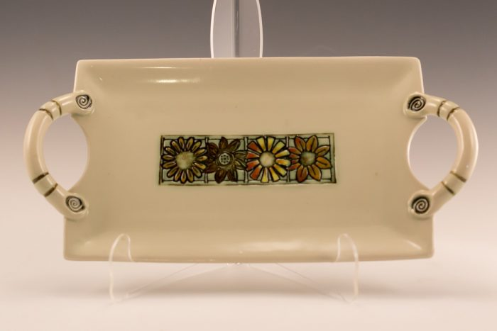 Stoneware Floral Tray