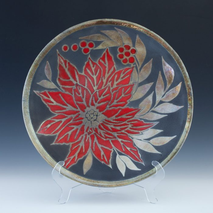 Raku Poinsettia Platter