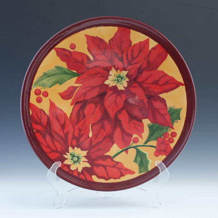 Raku Poinsettia Platter 3