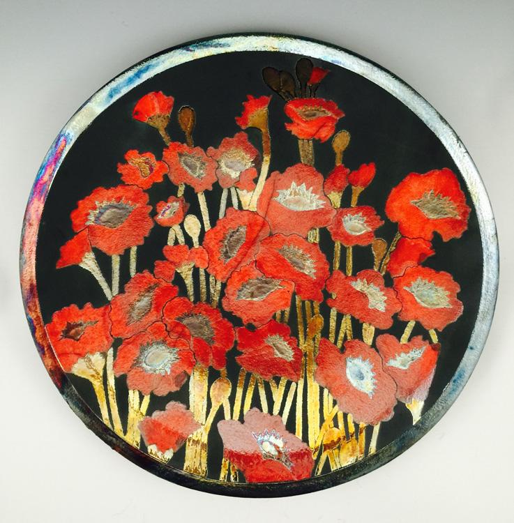 Poppy Platter Raku